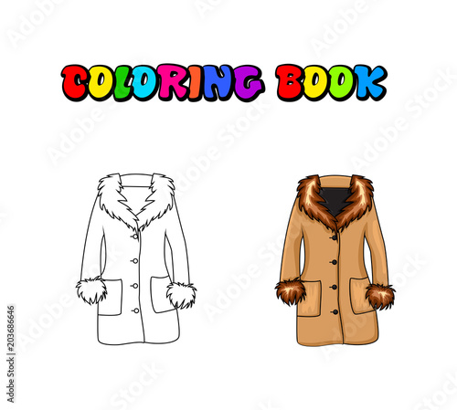 Cartoon fur winter coat coloring book isolated on white background