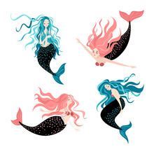 Funny Cartoon Mermaids Fairy Tale Characters Cute   Illustrations   Sticker