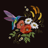 Humming birds and poppies chamomile embroidery on black background. Elegant flowers poppy and tropical humming bird vector - 203690465