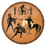 Ancient Greece scene. Black figure pottery. Centaur, people, gods of an Olympus - 203690602
