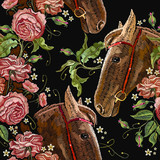 Embroidery horse head and wild roses seamless pattern, dogrose flowers. Fashionable template tapestry flowers renaissance. Classic style embroidery, horse and beautiful dogrose pattern - 203690609