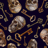 Embroidery human skulls and keys seamless pattern. Template fashionable clothes, t-shirt design. Golden vintage keys and gothic skull pattern - 203690634