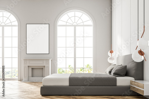 White arched window bedroom, poster - 203699815
