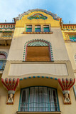Architecture detail in art nouveau style at one building in Subotica, Serbia - 203700284