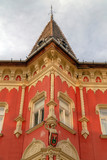 Architecture detail in art nouveau style at one building in Subotica, Serbia - 203700294