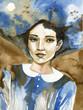 Watercolor portrait of a beautiful woman in blue.