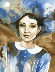 Watercolor portrait of a beautiful woman in blue.  © bruniewska