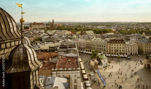 Aluminium Krakau Panorama of Krakow main market square, Poland