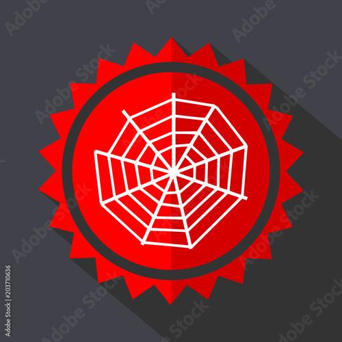 Fototapeta Spider web red sticker flat design vector icon