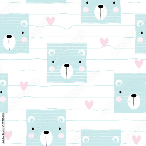 Cute pastel bear face seamless pattern. Vector hand drawn illustration.
