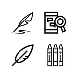 Set of 4 write outline icons - 203714044