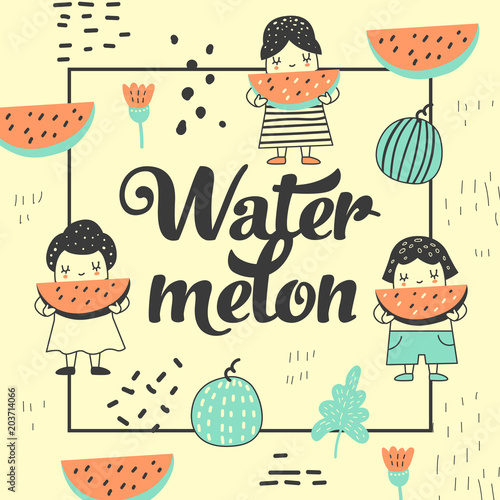 Childish Design with Cute Girls and Watermelons. Creative Kids Background for Cover, Birthday Card, Decoration. Vector illustration - 203714066