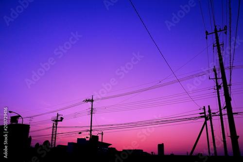 Plexiglas Donkerblauw 美しき夕景と電柱
