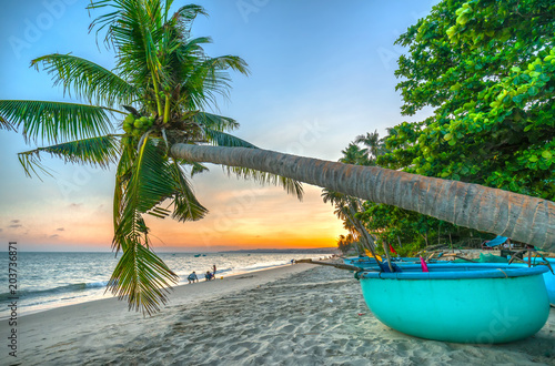 Fotobehang Tropical strand Mui Ne, Vietnam - April 21, 2018: Tourists frolicking on tropical beaches in afternoon sunset beside palm trees as creates beautiful setting for weekend guests at paradise beach in Mui Ne, Vietnam