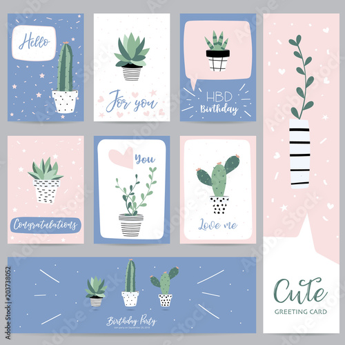 green pastel greeting card with cactus and leaf - 203738052