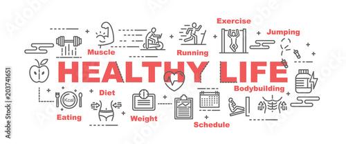 healthy life vector banner