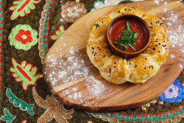uzberk bread with sauce