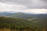 A view of the mountain range in the Carpathian Mountains. Ukraine