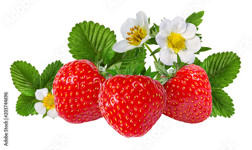 strawberry and strawberry flower isolated on white background
