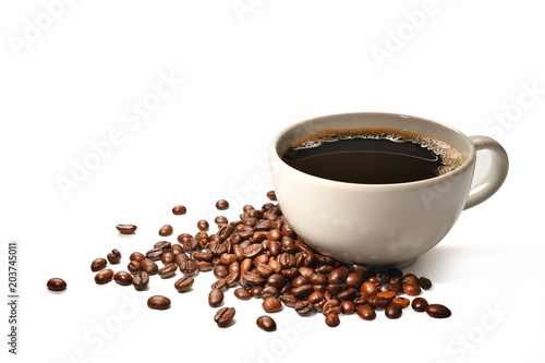 Poster Cup of coffee and coffee beans isolated on white background