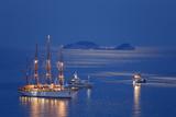 Sailboat in the moonlight in Dubrovnik, Croatia - 203745478