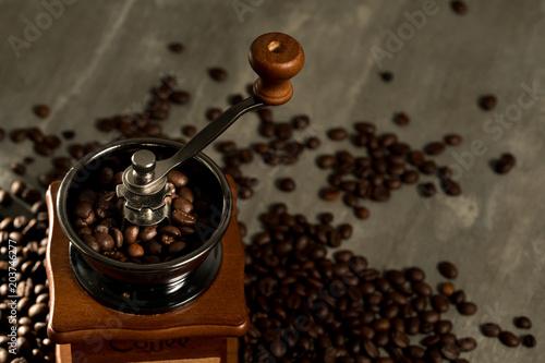 Canvas Koffiebonen coffee mill grinder and coffee bean