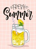 Summer cards with pineapple and hand-drawn lettering.  Vector illustration.