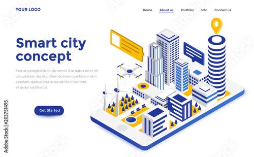 Flat color Modern Isometric Concept Illustration - Smart city