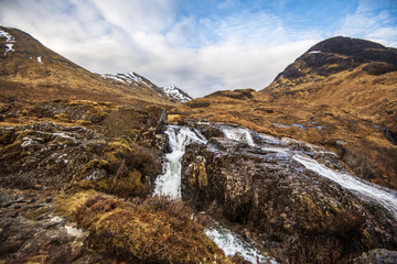 Glencoe Waterfall Poster - a scene from the magnificent Scottish Glen