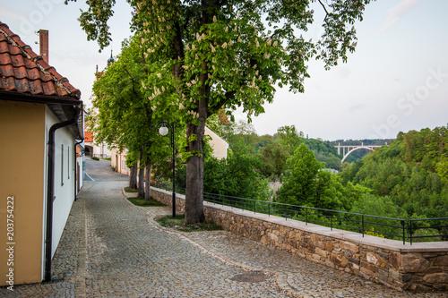 Street in downtown of Bechyne, Czech Republic.
