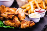 Kentucky wings with French fries - 203754429