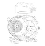 Electric motor outline. Vector - 203784029