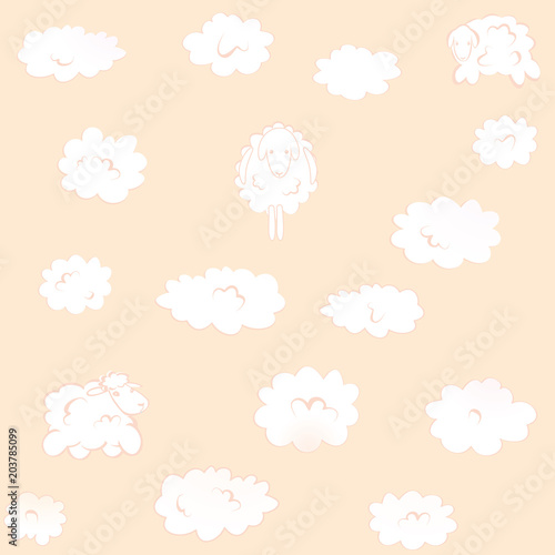 Fototapeta pink square Wallpaper with clouds-sheep