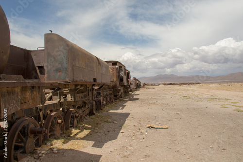 Cemetery for old locomotives in Bolivia