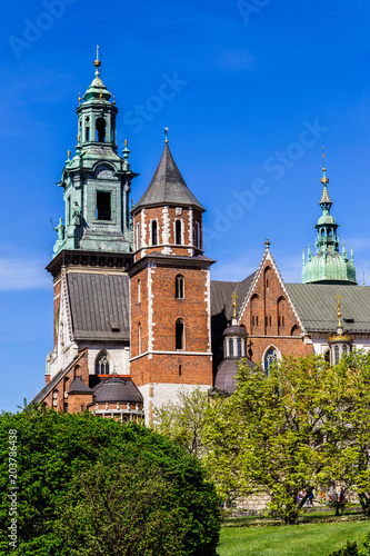 Aluminium Krakau Roof towers of cathedral on Wawel castle, Cracow, Poland.