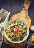 Tagliatelle with grilled mushrooms and cheese - 203788413