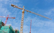 high cranes on the construction site.