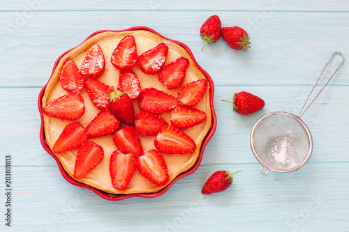 Homemade tart with fresh strawberries