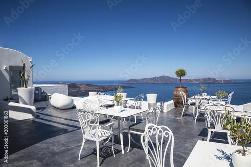 Plexiglas Santorini View of the Caldera from the terrace cafe, Fira, Santorini, Greece