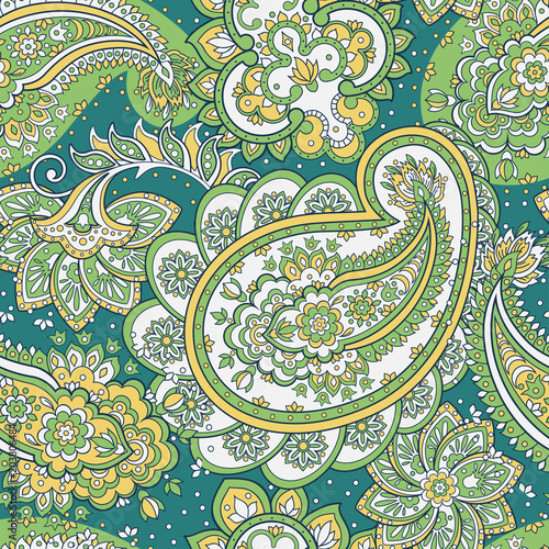 Cotton fabric Paisley Pattern. Seamless Asian Textile Background