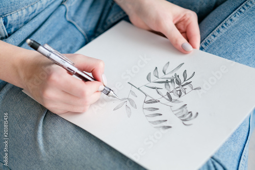 Fototapeta art painting inspiration creativity nature concept. picture of a herb. drawing of a twig with leaves. artist creations.