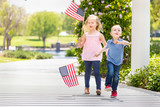 Young Sister and Brother Waving American Flags At The Park - 203828800