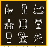 Set of 9 wine outline icons - 203832498