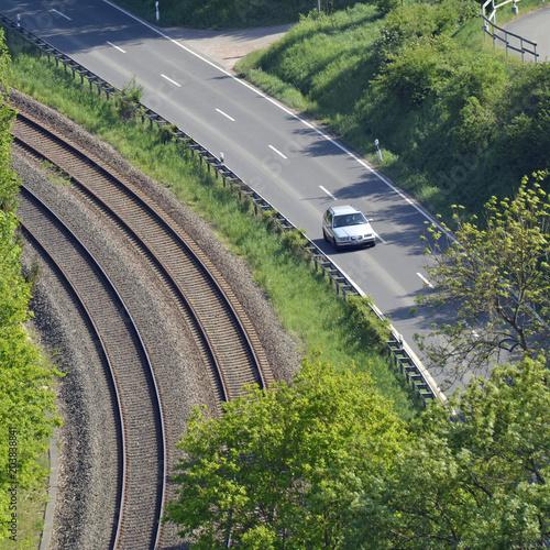 Foto Spatwand Spoorlijn parallele verkehrswege