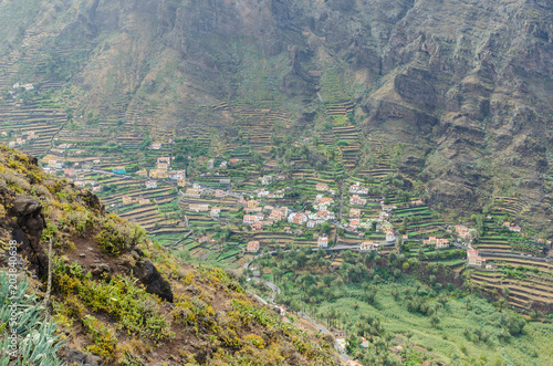 Plexiglas Olijf Landscape view on the valley of Valle Gran Rey