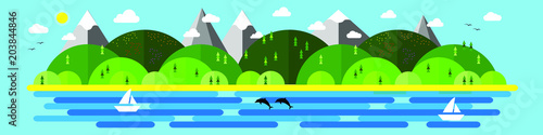 Plexiglas Lichtblauw Summer vector illustration for site header, banner, flyer or postcard, modern flat design conceptual landscapes with sea, beach, hills and mountains.