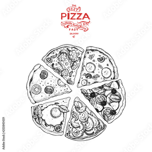 Italian Pizza hand drawn vector illustration. Pizza slices in a circle. Packaging design template. Sketch illustration. - 203845439