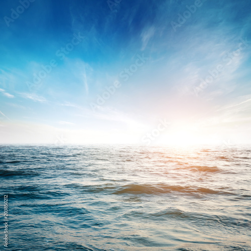 Sky and tropical ocean background