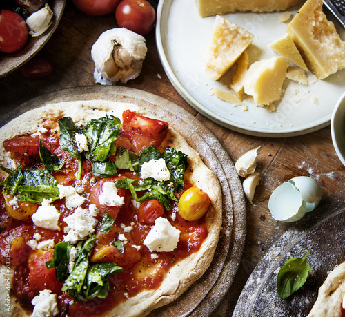 Homemade pizza food photography recipe idea - 203854864