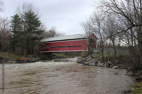 Balthazar Covered Bridge over Yamaska River, built in 1932 in Brigham, Qc
